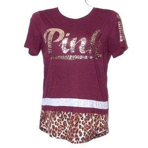VS Pink Burgundy Shirt Sequins Bling Leopard Trim